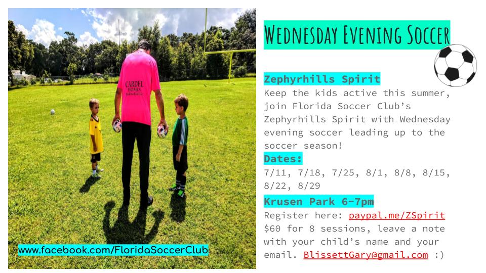 Register now for Wednesday Evening Soccer in Zephyrhills!